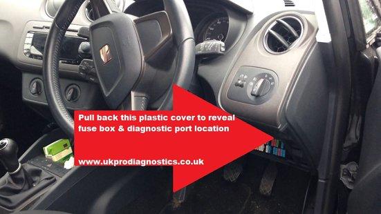 SEAT Ibiza Mk4 Diagnostic OBD Port Location
